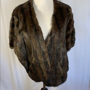Vintage Fur Stole with Pockets